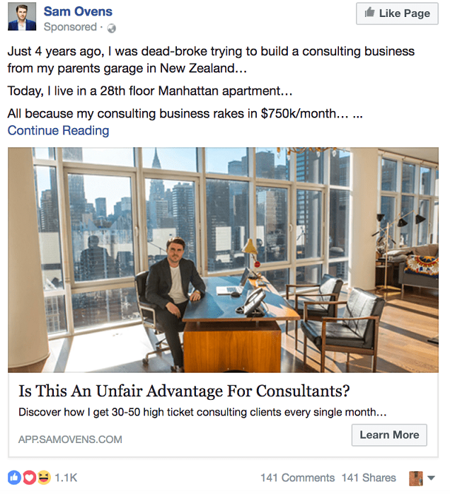 Sam Ovens Facebook ad for small business marketing