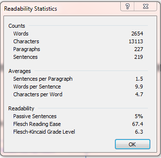 seo writing example post readability stats