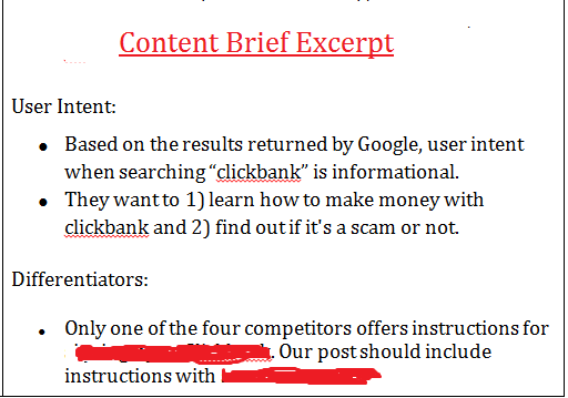 content brief excerpt